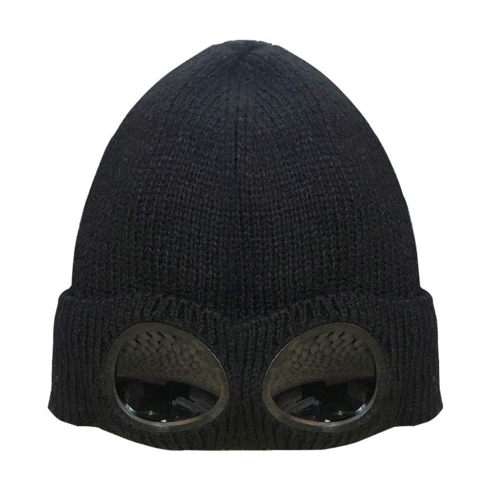 Shiningbaby Frauen M/änner Warme Winter Strickm/ütze M/ützen Skullies Mit Abnehmbaren Gl/äsern Winddicht Outdoor Ski Cap