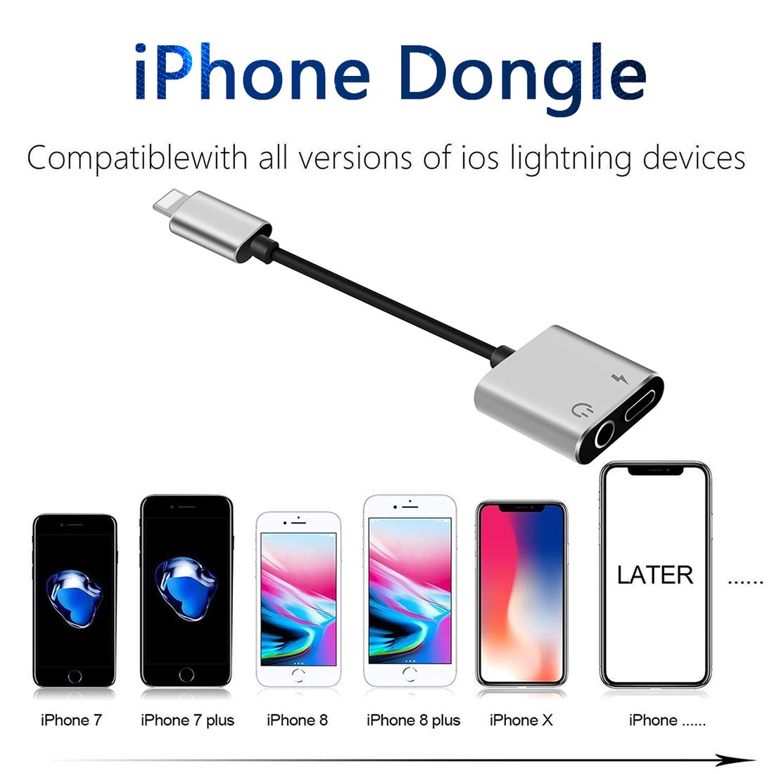 Headphone Jack Adapter Charger for Splitter Dongle Earphone Cable and Aux Audio Connector for iPhone X//Xs//XS max//8//8 Plus//7//7 Plus Adapter 2 in 1 Headphone for Music and Charge Support iOS10.3 More
