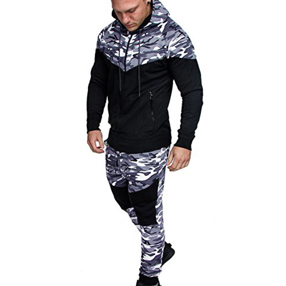 Men Camo Hoodie Tracksuit Active Fitness Long Sleeve Zip-up Hoodie Athletic Sports Set