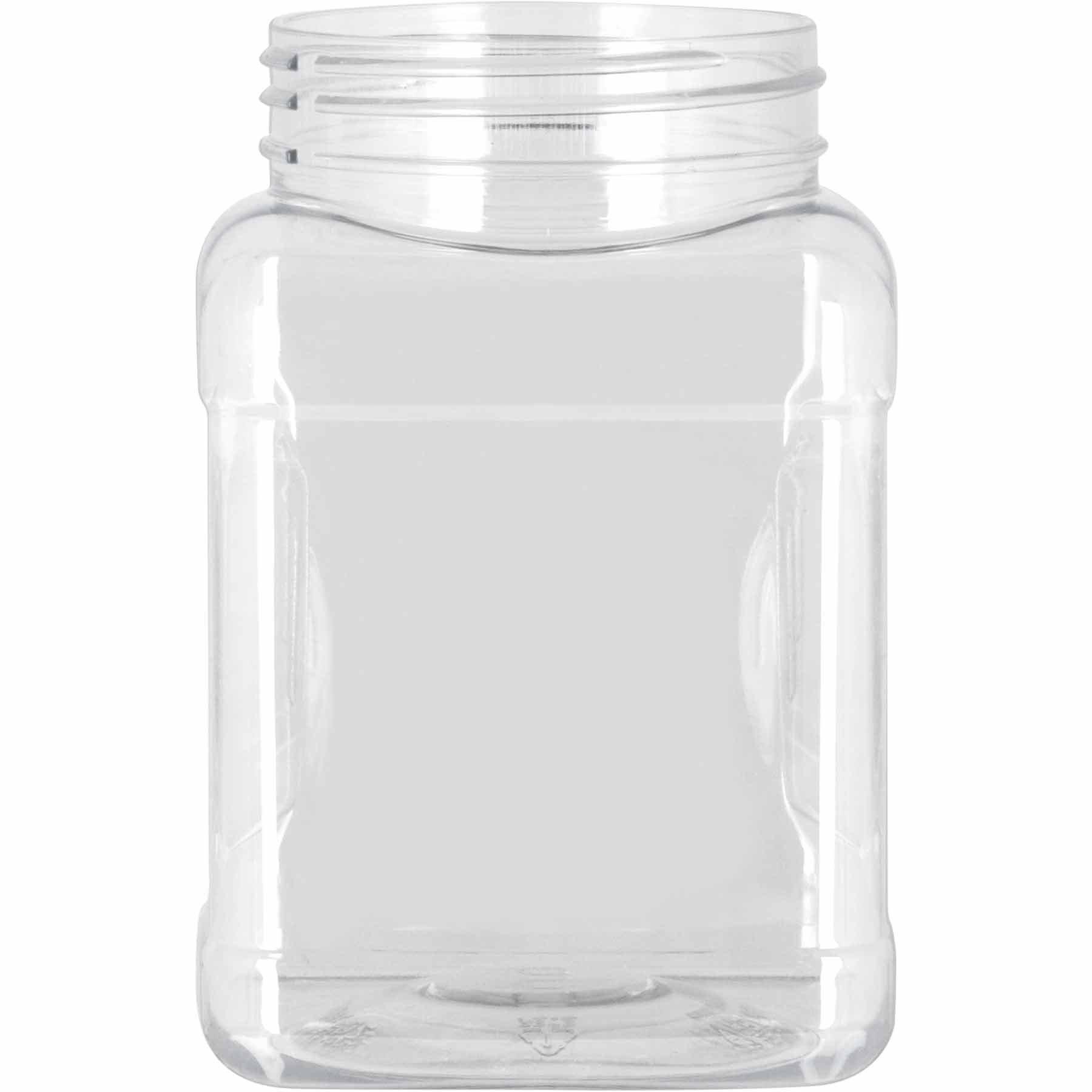 Pride Of India Clear Food Grade PET Plastic Square Grip Storage Jar w/Cap - 16 Fluid Ounces - 12-Jar Pack (1-2 Cup Storage Capacity) by