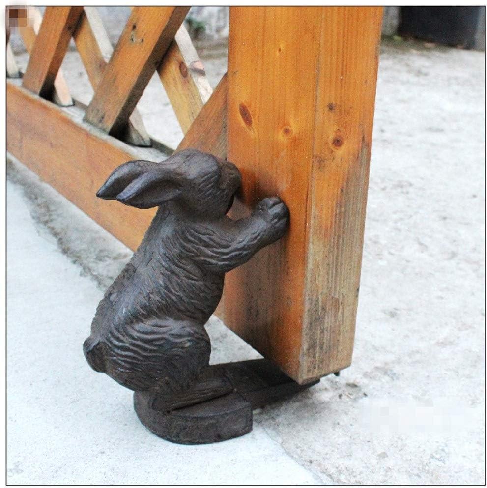 Jianghuayunchuanri Tope de Puerta de Hierro Fundido Conejo Tope de la Puerta Retro Antiguo de Hierro Fundido Puerta Stop Animal for el jardín Granja Casa Terraza Cuña Decorativa de Tope de Puerta