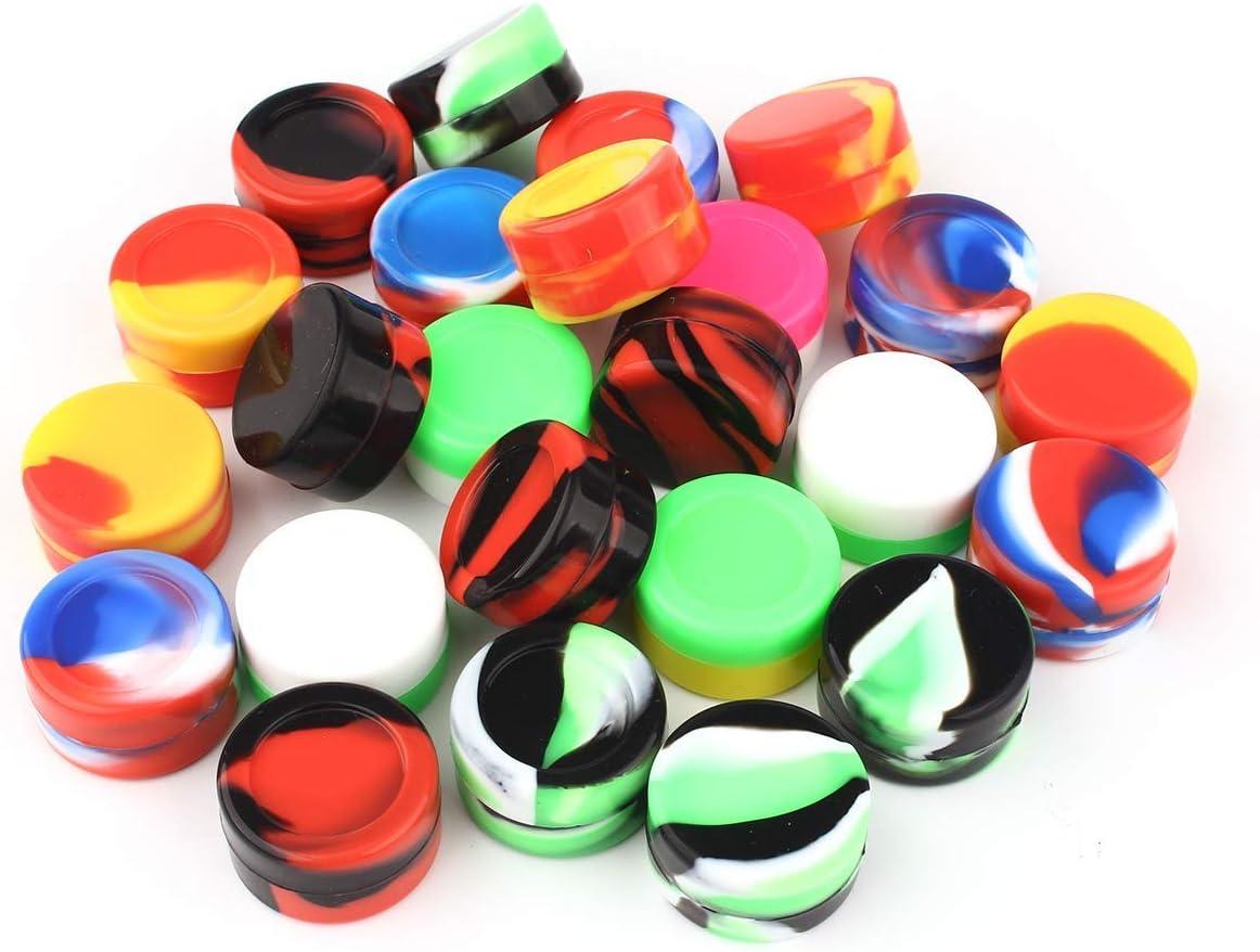 Botellas de contenedores de Silicona Antiadherente 5ml de CEOKS Wax Multi-Color de Cocina de Almacenamiento de Caucho contenedor