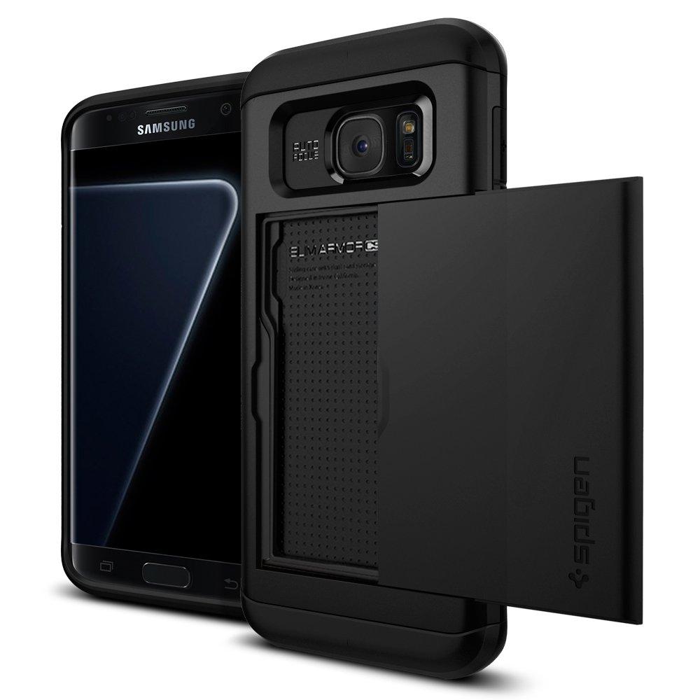 super popular 19bc2 d3ebb Spigen Slim Armor CS Galaxy S7 Edge Case with Slim Dual Layer Wallet Design  and Card Slot Holder for Galaxy S7 Edge - Black