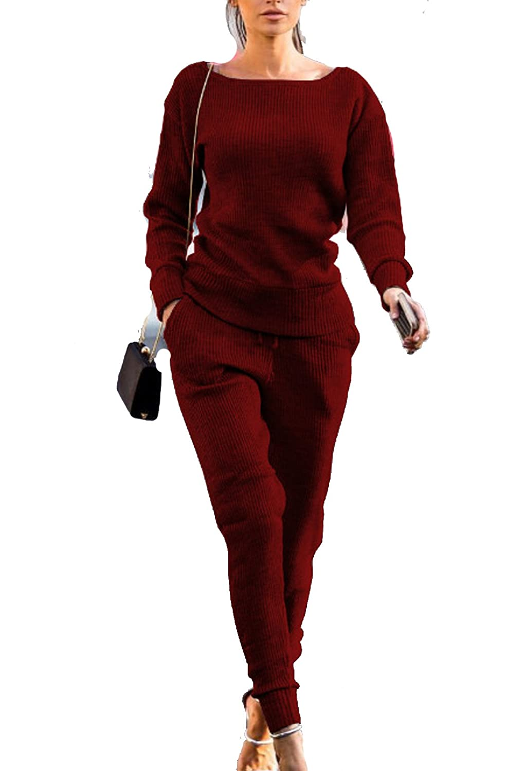 Leezeshaw Womens Winter Fall Rib-knit Pullover Sweater Top & Long Pants 2Pcs Tracksuit Set Outfit E11DY 17904-1
