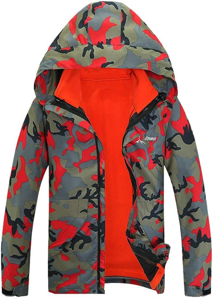 SportsX Mens Camo Warm Zip Pocket Plus Size Velvet Hood Sweatshirts