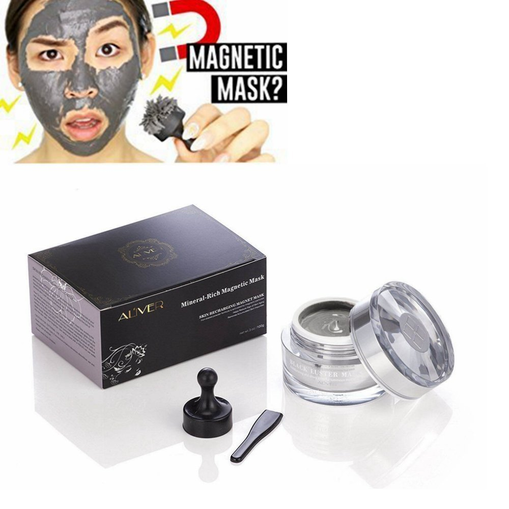 Aliver Mineral-Rich Magnetic Face Mask Pore Cleansing Removes Skin Impurities with Iron Based Skin Revitalising Magnetic Age-Defier Formula 50ml Alivo