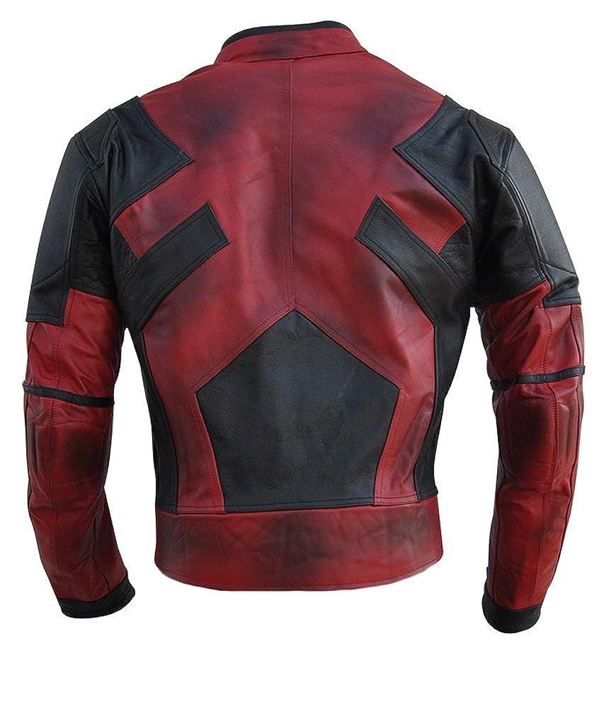 chaqueta de motociclista Chaqueta para hombre Deadpool de Classyak de piel de alta calidad