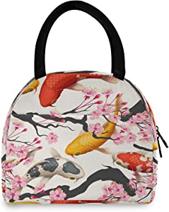 YVONAU Lunch Bag Japanese Koi Fish Flower Insulated LunchBox Lunch Tote Cooler Bag Lunch box Handbag for Adults Boys Girls Women Men for School Office