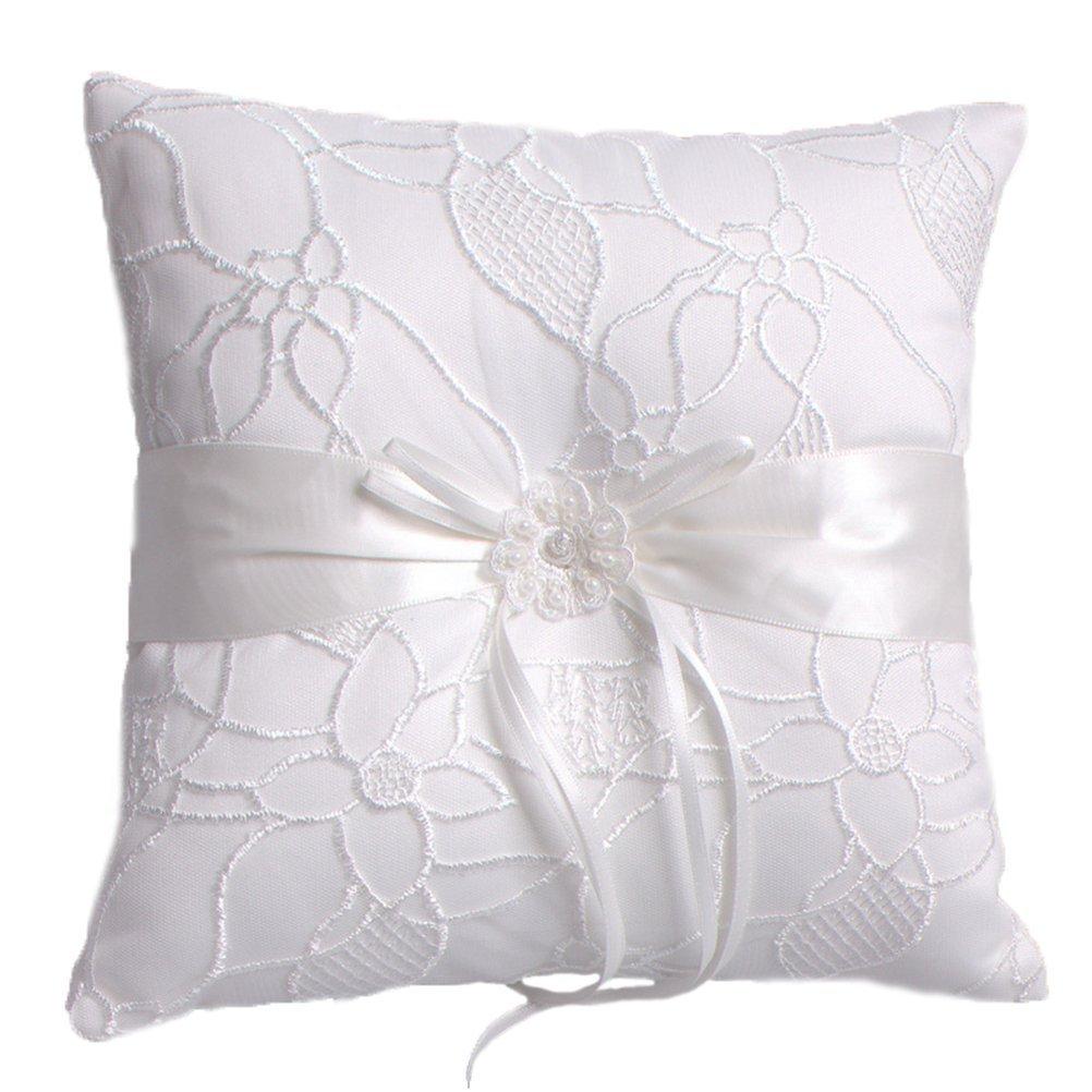 BessWedding Pearl Flower Decor Wedding Party Ring Pillows Bearer Cushion 005A