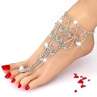 Amazoncom San Tokra 2 Pieces Rhinestone Foot Jewelry Barefoot
