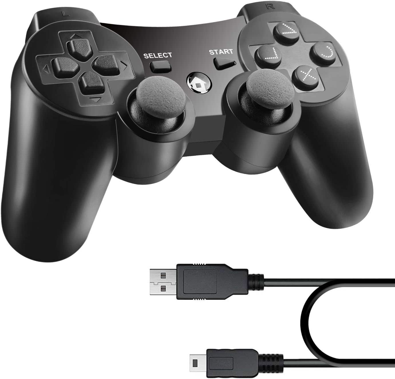 Diswoe Mando Inalámbrico para PS3 Controller Bluetooth con Función SIXAXIS y Doble Vibración, Wireless Rechargable Bluetooth Gamepad Remote Joystick Controller Gamepad para Sony PS3 Playstation 3