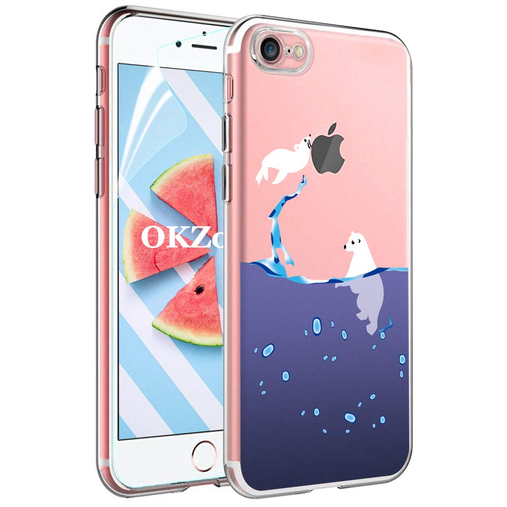 OKZone iPhone 8//7 Plus Case with Screen Protector Cute Pattern Design Soft /& Flexible TPU Ultra-Thin Shockproof Women Cover Cases for iPhone 8//7 Plus 5.5 Inches Tattoos