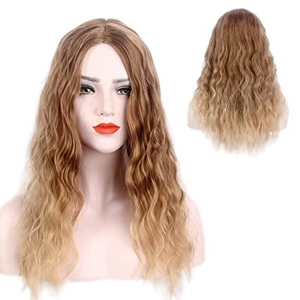 STfantasy Ombre peluca rubio larga, rizada, pelo sintético de dos tonos para mujer,