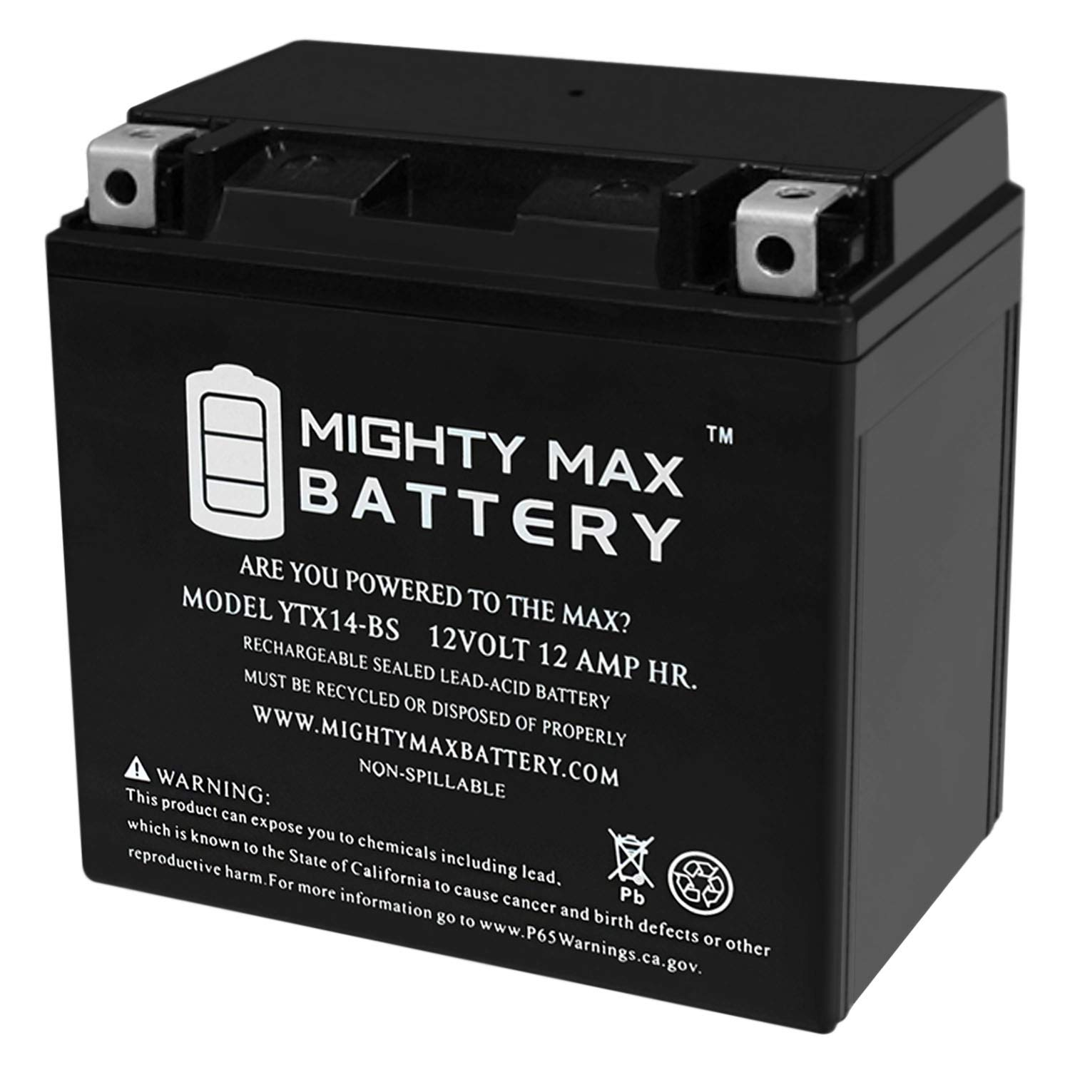 Mighty Max Battery YTX14-BS Replacement for ATV Honda TRX 500 Rubicon Foreman Rancher Brand Product