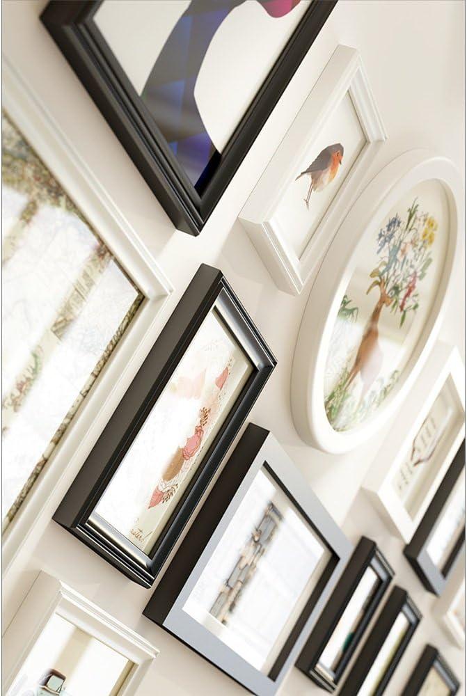 158 80 cm Farbe : Schwarz Everyday Home 14 Multi Bilderrahmen Set Moderne Einfachheit Stil Holz Schwarz Wei/ß DIY Foto Bild Wandrahmen Kombination Treppen Malerei