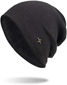 Unisex Trendy Thermal Head Protection Caps Baggy Large Size Stretchy Slouchy Knit Hat (Black)