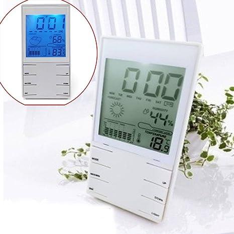 AUDEW Reloj Digital LCD Medidor de Temperatura Humedad Termometro Higrometro Blanca Cubierta
