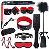 Saiksi 10 Pcs Bondage Restraint, Toy Feather Tickler Hand Ankle Cuffs Flirt...