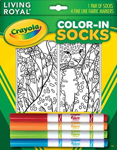 爆発物見る人フォアマンCrayola Colour-In Socks with 1 Pair of Socks and 4 Fabric Markers - Leopard Design