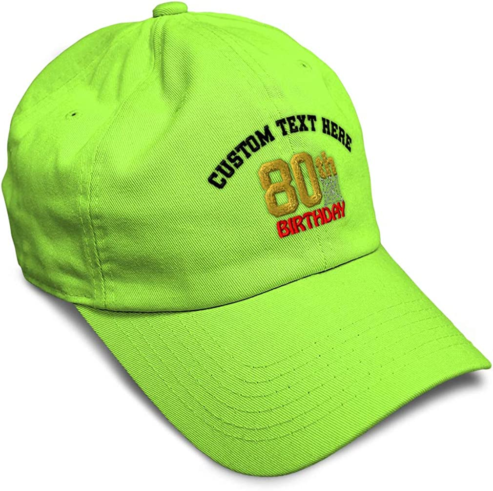 Custom Soft Baseball Cap 80Th Birthday Embroidery Dad Hats for Men /& Women