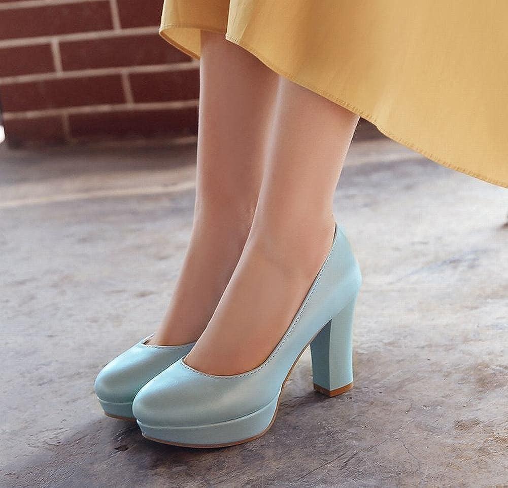 MEITIAN Womens Block High Heel Platform Court Shoes