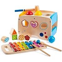 Giocattoli di martellamento in legno e martellamento + 8 note Xylophone + riconoscimento di colore di forma, regalo di compleanno per l'età 3 4 5 Anni e Bambini Bambino
