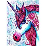 DIY 5D Diamond Painting, Crystal Rhinestone Embroidery Pictures Arts Craft for Home Wall Decor Red Unicorn 11.8 x 15.7