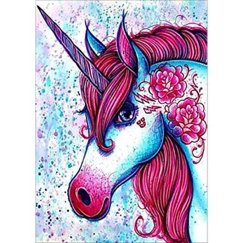 DIY 5D Diamond Painting by Number Kits, Full Drill Crystal Rhinestone Embroidery Pictures Arts Craft for Home Wall Decor Gift,Red Unicorn