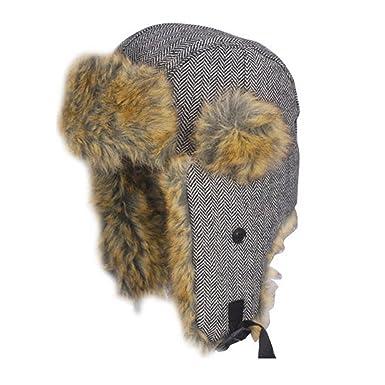 c5df68cc884 Accessoryo Grey 60cm Herringbone Trapper Hat with Faux Fur Trim ...