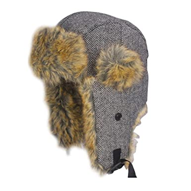 07679c080a7 Accessoryo Grey 60cm Herringbone Trapper Hat with Faux Fur Trim   Amazon.co.uk  Clothing