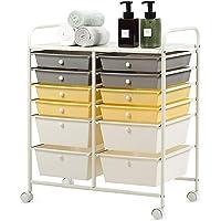 Rolling Utility Cart, 12-Drawer Storage Shelves Scrapbook Paper Organizer Cart on Wheels, Mobile & Lightweight Storage…