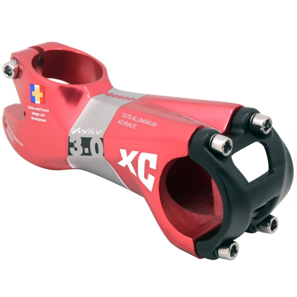 Felice Acekit Aluminum Alloy 31.8mm 7 Degree Bicycle Stem for Road Bike AM XC Mountain Bike with 1 1/8 Steer Tube and 1 1/4 Handlebar-Red by Felice
