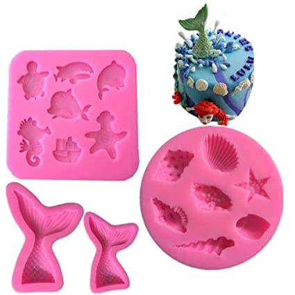 Amazon Com 4 Pack Mermaid Tail Seashell Sea Creatures Silicone
