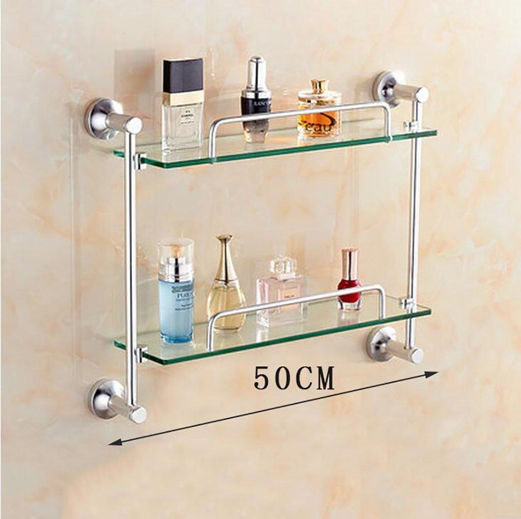 YAOHAOHAO Bathroom shelving bath rooms, glass on a shelf, the space of the aluminum glass on a shelf, bath rooms, 2F shelf wall (Size: 50cm).