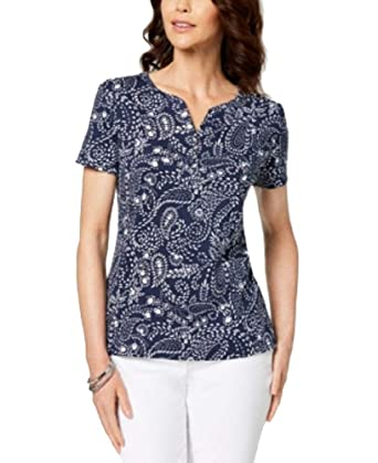 8e6e7568 Karen Scott Printed Henley T-Shirt (Intrepid Blue Paisley, S) at ...