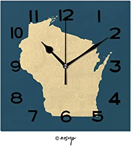 YOLIYANA 8 inch Square Clock Map of Wisconsin Unique Wall Clock-for Living Room, Bedroom or Kitchen Use