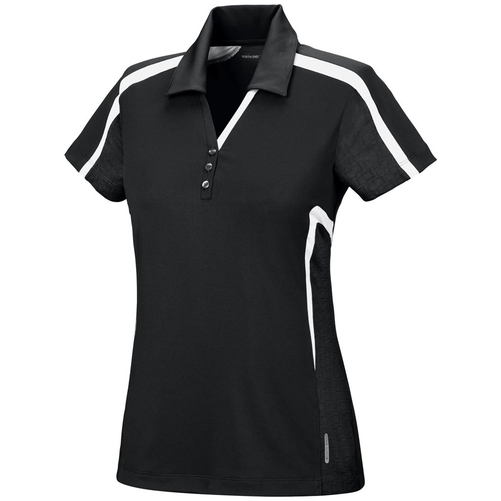 Ash City Womens Accelerate Performance Polo (X-Small, Black/Ice)