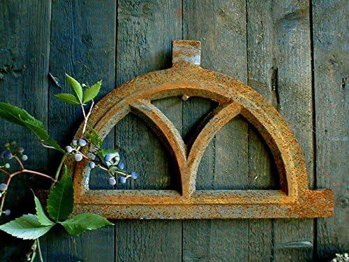 Antikas - ventana de establo muro de jardín - ventana de hierro fundido semicircular de 80 x 41: Amazon.es: Bricolaje y herramientas