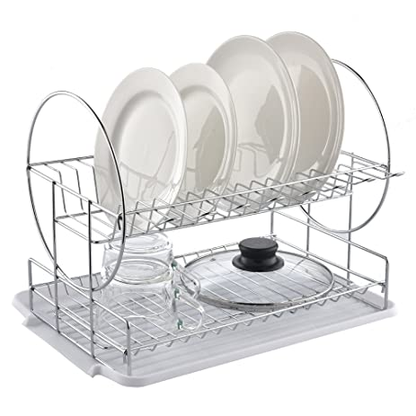 best commercial steel rust proof kitchen in sink two tier dish drying rack chrome dish