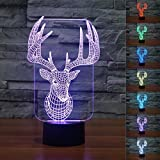 Cheap SUPERNIUDB Novelty Elk Deer 3D Night Light LED USB 7 Color Change LED Table Lamp Xmas Toy Gift