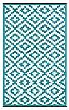 Green Decore Lightweight Outdoor Reversible Plastic Nirvana Rug (3 X 5, Teal Blue/White)