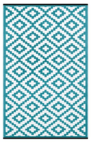 Green Decore Lightweight Outdoor Reversible Plastic Nirvana Rug (6 X 9, Teal Blue/White)