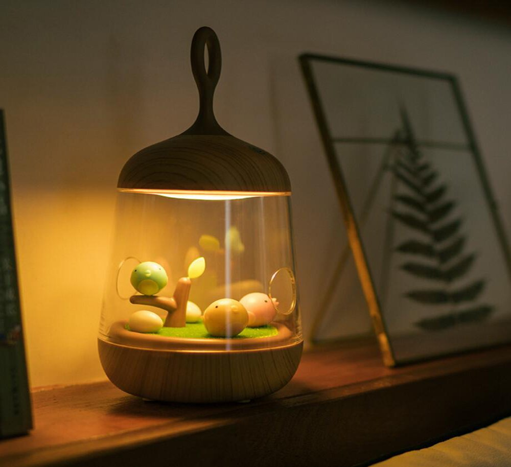 Huntmic Wood Micro Landscape Night Light, Music Box Night Light for Kids Micro Landscape Night Lamp with 7 color Modes Best Gifts for Children