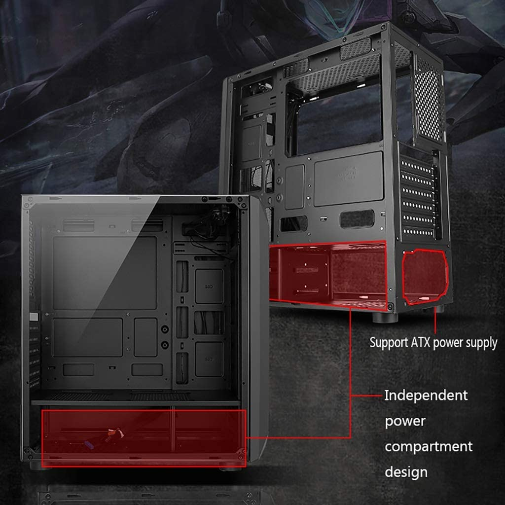 Mid-Tower ATX//M-ATX//Mini-ITX PC Gaming Computer Case,Tempered Glass,for Desktop PC Compute WSNBB Gaming Case