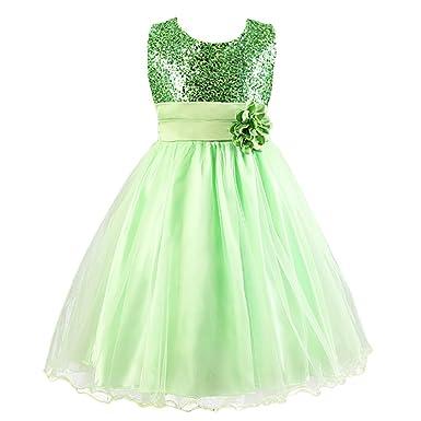 Découvrez la vente de chaussures prix pas cher JXUFF Robe Cérémonie Fille Enfant Princesse Mariage/Soirée vert 9-10 ans