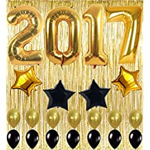 2017 Black and Gold Decoration Kit, Gold Metallic Foil Fringe Shiny Curtains, Happy Birthday Banner with Latex & Star Foil Balloons, Best Party Supplies for 21st 30th 40th 50th Bday Boy Girl Theme