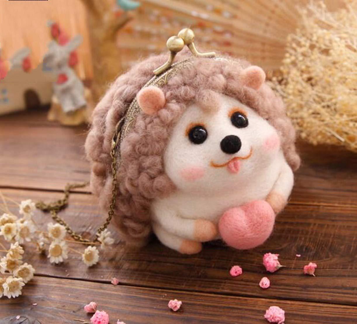 WellieSTR DIY Wool Needle Felting Craft Kit,Handicraft Wool Felt Woolen Needle Poke DIY Kits Sweetheart Hedgehog Stlye Coin Wallet Bag
