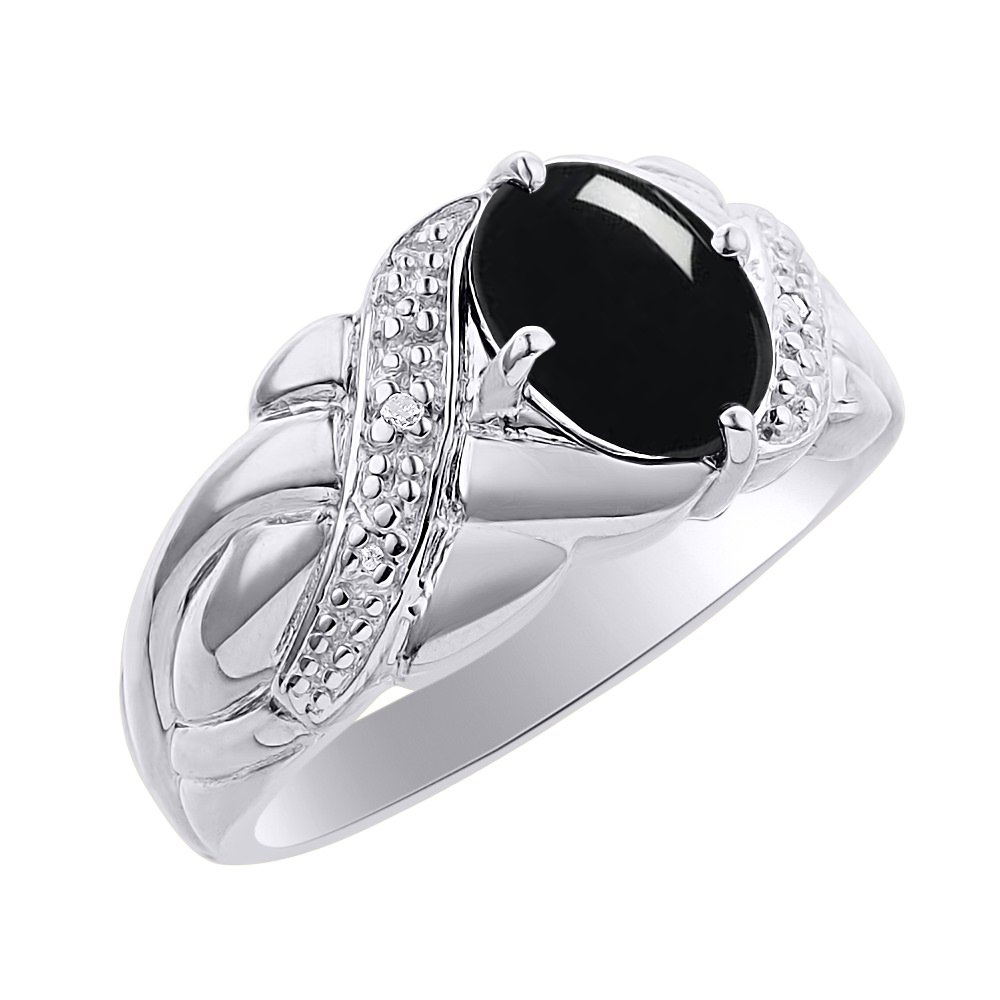 Diamond /& Onyx Ring Set In Sterling Silver Color Stone Birthstone Ring