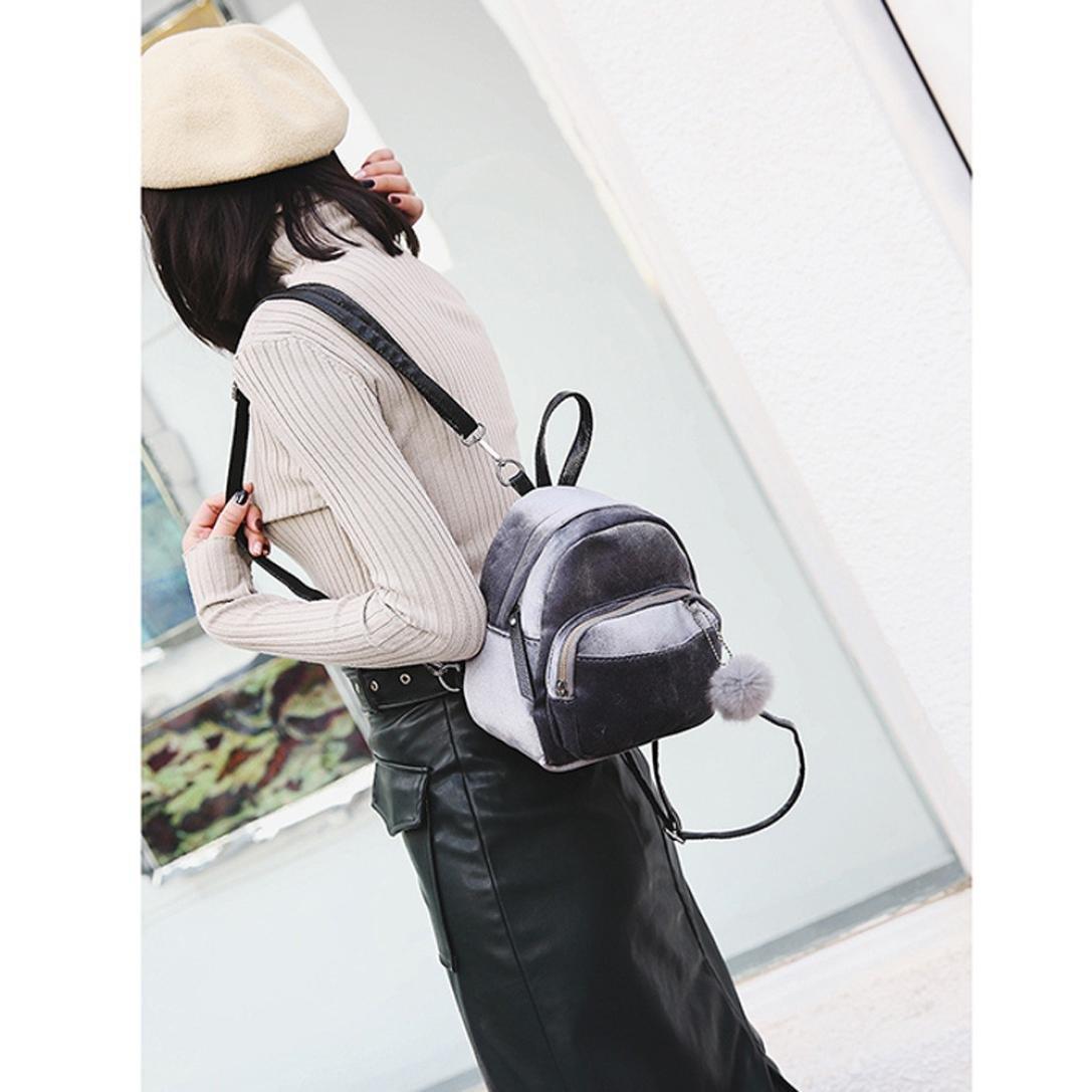 DDLBiz Mini Fur Ball Backpack Fashion Shoulder Bag Solid Women Girls Travel School Bags (Grey)