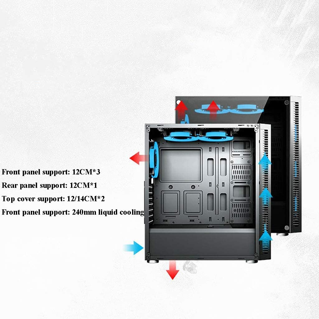 Color : Black Window Side Panel USB 3.0 Mid-Tower Support 6x120MM Fan ATX//Micro-ATX XZ15 PC Game Chassis